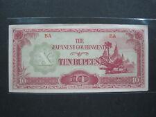 Burma 10 Rupees 1942 Japan Invasion WWII Myanmar Bank Currency Money Banknote