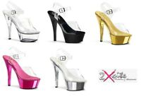 PLEASER KISS 208 HIGH HEEL PLATFORM CLEAR STRAP SANDALS SHOES DANCER SIZE 3-11