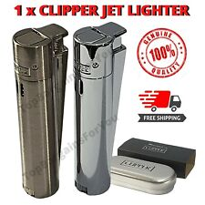 More details for 1x silver metal clipper lighter jet windproof dustproof electronic gas refilable