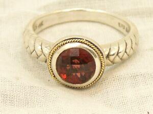 Estate Sterling Silver & 18K Gold Effy BH Garnet ring