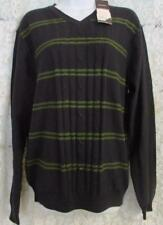 Perry Ellis Sweater NWT Medium - 100% Cotton V-Neck Front Ribbed Navy Green
