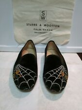 STUBBS & WOOTTON Black Velvet Spider Woven Loafers Flats Shoes SIZE 7.5