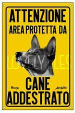 BASENJI AREA PROTETTA TARGA ATTENTI AL CANE CARTELLO PVC GIALLO