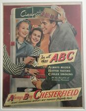 Original Vintage 1940's Retro Framed Advert (43 x 33cms) Chesterfield Cigarettes