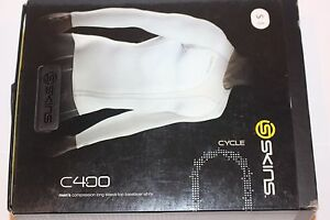 SKINS Cycle C400 Men's Compression Long Sleeve Top Baselayer Size S WHITE  NEW