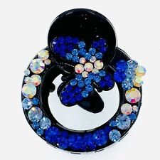 USA BUTTERFLY HAIR CLAW JAW CLIP use Swarovski ELM Crystals Hairpin Elegant Blue
