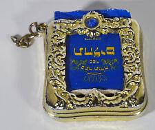 "Vintage 1 1/2"" Miniature Jewish Bible Hebrew Judaica Faith Metal Golden Holder"