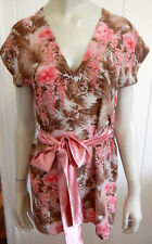 Hussy designer gorgeous silk mini dress with free pink sash size 6 (US 2)