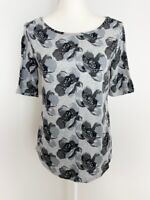 Ann Taylor Loft Womens Shirt Top Size M Black Gray Floral Boat Neck Short Sleeve
