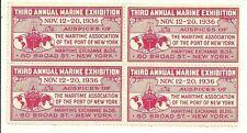 BLOCK OF 4 1936 3RD ANNUAL MARINE EXHIBITION NYC CINDERELLA STAMP MNH