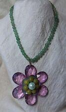 Designer LENORA DAME Necklace BEADED Lucite FLOWER Pink JADE MOP Green STATEMENT