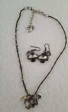BRIGHTON cross Beaded Crystal Charm Cotton Cord Necklace. With matching Earrings