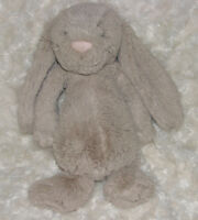 "Jellycat BUNNY Taupe Beige Brown Floppy Bashful 11"" Plush Stuffed Animal Medium"