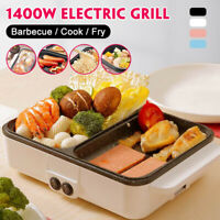 Mini Electric Fryer Hot Pot Barbecue Pan Grill Non Stick Cook Fry Cookware 2 In1