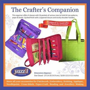 """YAZZII Crafters Companion Bag (BLACK) - 13.3"""" x 10.8"""" x 3.5"""" closed size"""