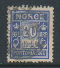 Norway - 1897, 20 ore Ultramarine Postage Due stamp - Used - SG D99a