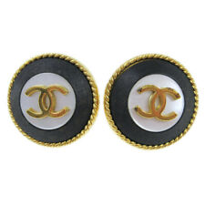 CHANEL CC Logos Button Motif Earrings Gold Black Clip-On 97P Accessories A49215
