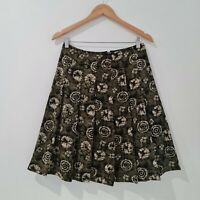 Women's Green Pleated Skirt Knee Length Tie Dyed Pattern Zip Closure Size 8