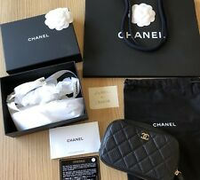 CHANEL BLACK CAVIAR LEATHER O-CASE POUCH BAG PHONE PURSE CLUTCH GOLD GHW