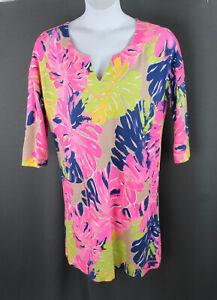 Lilly Pulitzer Women's Beige Pink Navy Print 3/4 Sleeve Dress Size L
