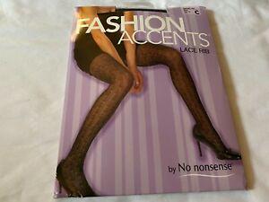 No Nonsense Fashion Accents Lace Rib Black Pantyhose Control Top Size C NIP