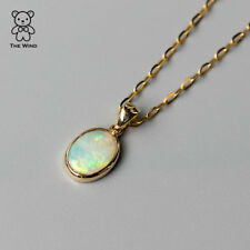 Minimal Style Oval Australian Solid Opal Pendant &Necklace 14k Yellow Gold Charm