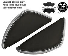 BLACK & GREY LEATHER 2X DASH END SIDE TRIM COVERS FITS VW T5 TRANSPORTER 03-11