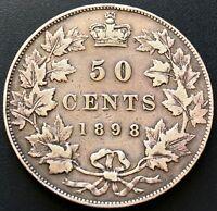 1898 Canada Silver 50 Cents Half Dollar ***VF/EF Condition*** Great Detail