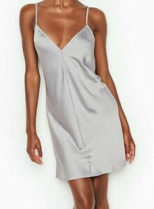 NEW Victorias Secret soft Satin lingerie Rhinestone sparkly Slip dress Sleepwear