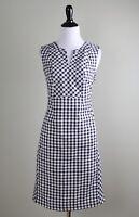 TALBOTS Outlet $98 Gingham Plaid Check Linen Split V Neck Dress Size 6 Petite