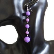 Womens Fashion Big Small Purple Beads Chain Dangle Hookie Hook 9cm Long Earrings
