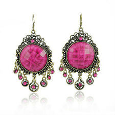VINTAGE gioielli / gioielli con Strass Rosa Scuro Lungo Goccia Pendenti Orecchini VE1