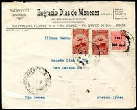 BRAZIL TO ARGENTINA RIO GRANDE Cancel on Cover w/Advertising 1931