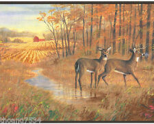 Deer Autumn Lodge Cabin Hunting Wood Lake Sunset Wildlife Wall paper Border