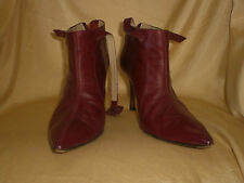 AUTHENTIC MANOLO BLAHNIK WINE RED VINTAGE BOOTS BOOTIES SHOES 39.5 9.5 9