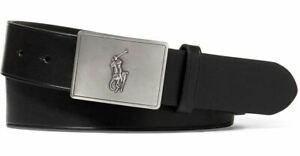 Polo Ralph Lauren Men's Belt Signature Pony Metal Plaque Black Leather
