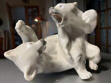 "Vintage Royal Copenhagen Large Rare! ""Polar Bears Fighting"" #1107 Mint Plate5."
