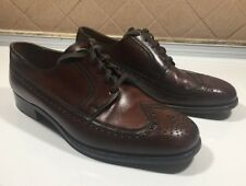 413))Bally Nelson Brown Leather Wingtip Mens Shoes Size 7 E