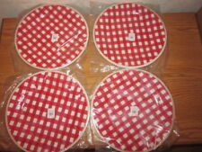 S/4 Pottery Barn Kids Gingham Valentines Day Christmas Melamine Charger Plates