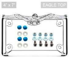 Chrome Eagle License Plate Frame Locking Screw & Cap Kit BLUE for Motorcycle