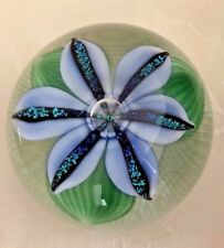 Orient and Flume Crystal Cased Dichroic Blue Lily Glass Paperweight 3 in Diam
