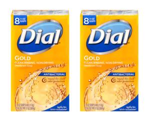(2x) DIAL Antibacterial Bar Soap - Gold - 4 oz (8-pack) - 16 TOTAL BARS!
