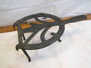 Antique Wrought Iron Kitchen Kettle Trivet Stand Hand Forged Tool Ornate