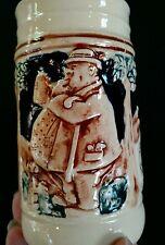 """Vintage Small 4.25"""" German Beer Stein Mug Raised Scenes and Words"""