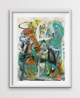 Bold Colorful Gestural Contemporary Small Original Abstract Painting Rain Roof
