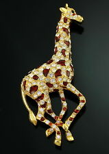 "Vintage Giraffe Enamel Rhinestone 3.75"" Big Gold Enamel Signed LIF England Pin"