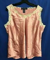 DIALOGUE Lounge Silky Smooth FLORAL LACE Trim Camisole Top Pink/White Sz L