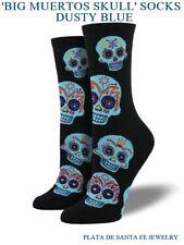 Big Muertos Skulls~Woman's Socks With Blue Skulls~Black Crew Socks~Free Shipping