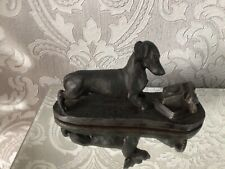 More details for lovely heredities dachshund dog with telephone figure rare