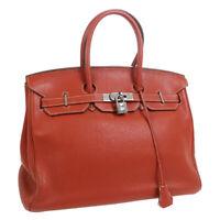 HERMES BIRKIN 35 Hand Bag Red Taurillon Clemence Bicolor □N O.21 34911